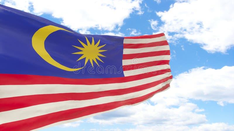 Wellenartig bewegende Flagge von Malaysia auf blauem bewölktem Himmel lizenzfreie stockfotos