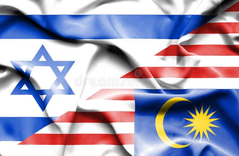 Wellenartig bewegende Flagge von Malaysia und von Israel stock abbildung