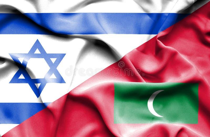 Wellenartig bewegende Flagge von Malediven und von Israel stock abbildung