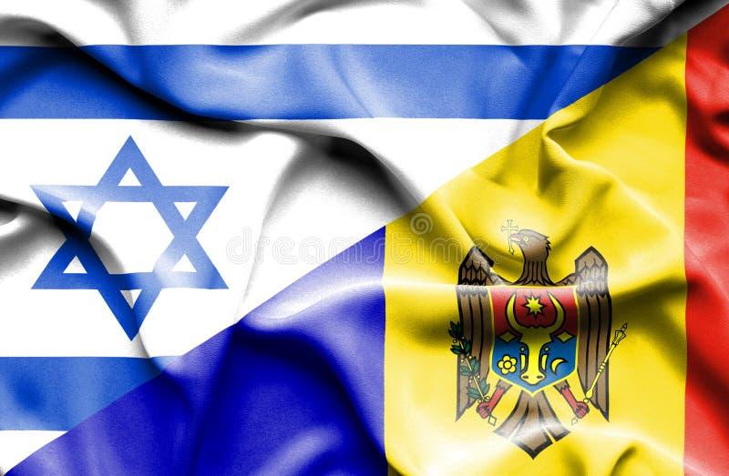 Wellenartig bewegende Flagge von Moldavien und von Israel vektor abbildung