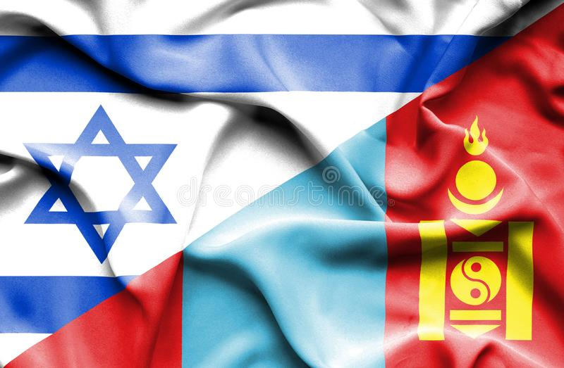 Wellenartig bewegende Flagge von Mongolei und von Israel stock abbildung