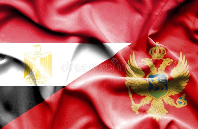 Wellenartig bewegende Flagge von Montenegro und von Ägypten stockbild