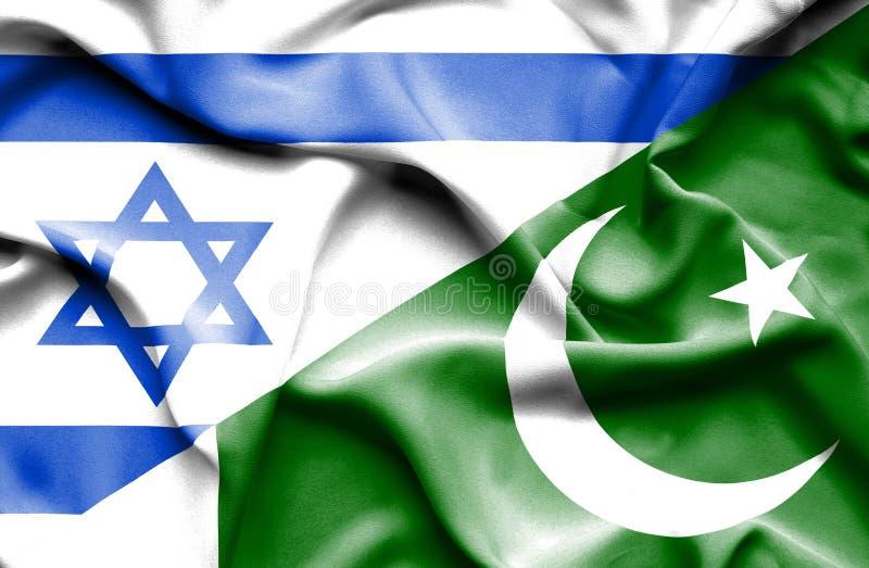 Wellenartig bewegende Flagge von Pakistan und von Israel lizenzfreie abbildung