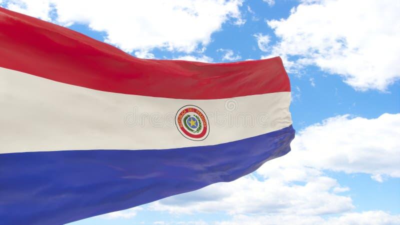 Wellenartig bewegende Flagge von Paraguay auf blauem bewölktem Himmel stockfotos