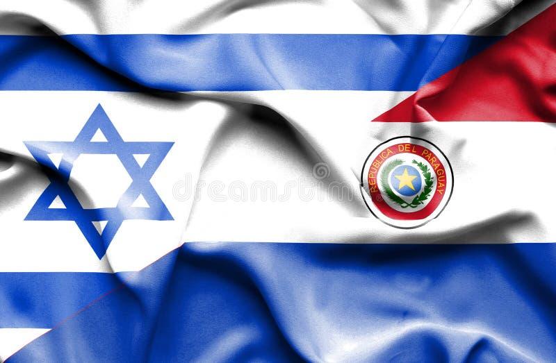 Wellenartig bewegende Flagge von Paraguay und von Israel stock abbildung