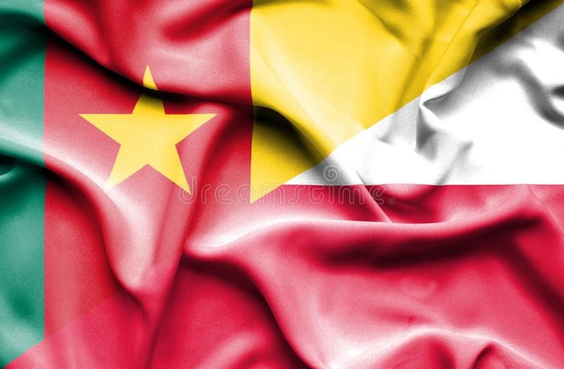 Wellenartig bewegende Flagge von Polen und von Kamerun lizenzfreie abbildung