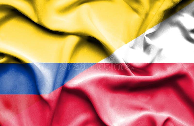Wellenartig bewegende Flagge von Polen und von Kolumbien lizenzfreie abbildung