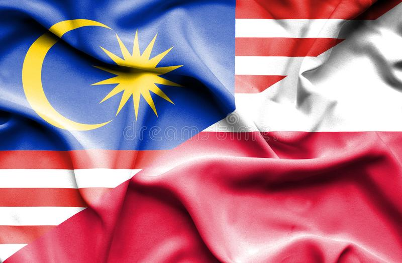 Wellenartig bewegende Flagge von Polen und von Malaysia stock abbildung