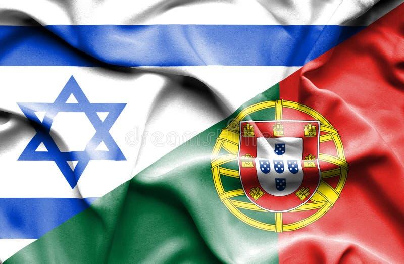 Wellenartig bewegende Flagge von Portugal und von Israel vektor abbildung