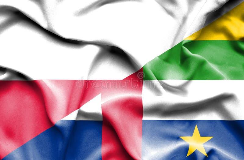 Wellenartig bewegende Flagge von Republik Zentralafrika und von Polen stock abbildung
