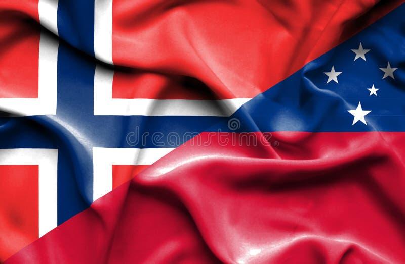 Wellenartig bewegende Flagge von Samoa und vektor abbildung
