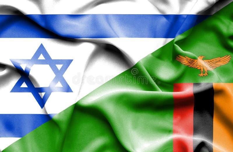 Wellenartig bewegende Flagge von Simbabwe und von Israel vektor abbildung