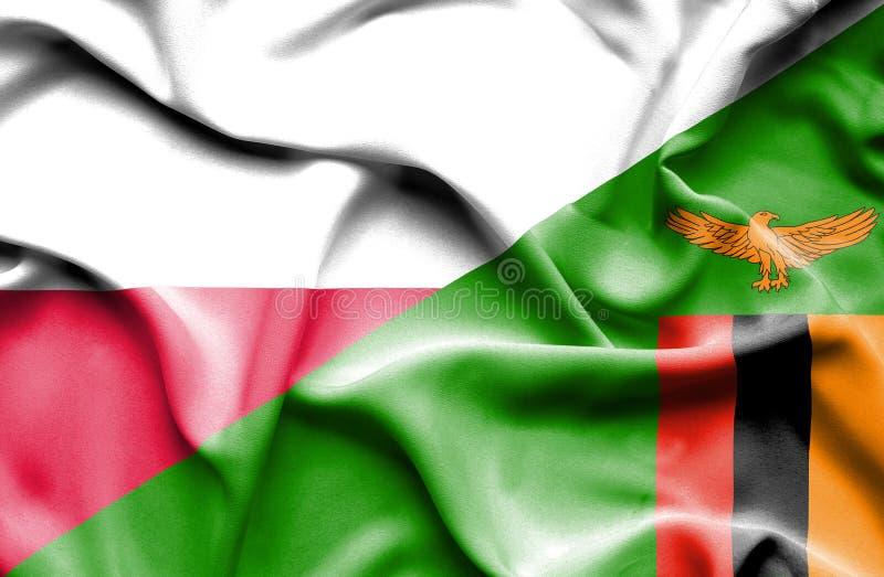 Wellenartig bewegende Flagge von Simbabwe und von Polen stock abbildung