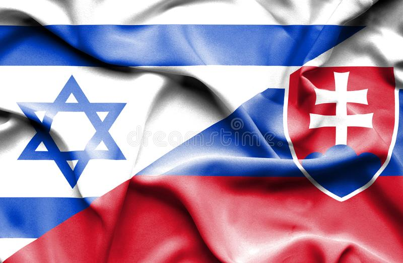 Wellenartig bewegende Flagge von Slowakei und von Israel stock abbildung