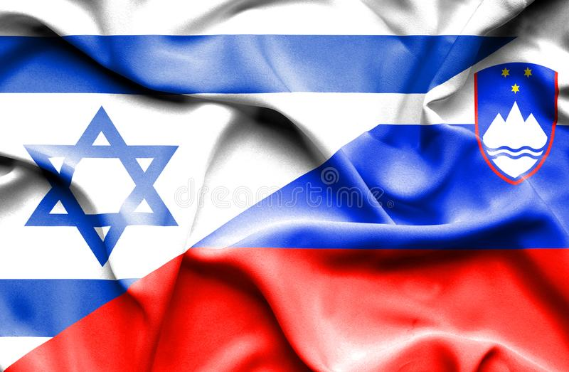 Wellenartig bewegende Flagge von Slowenien und von Israel vektor abbildung