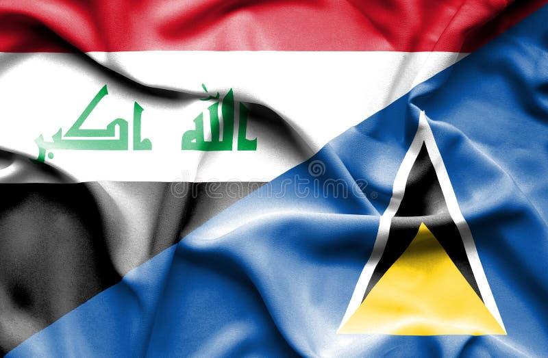 Wellenartig bewegende Flagge von St Lucia und von Irak vektor abbildung