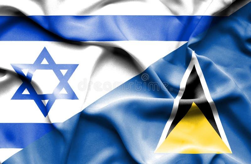 Wellenartig bewegende Flagge von St Lucia und von Israel lizenzfreie abbildung
