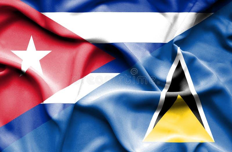 Wellenartig bewegende Flagge von St Lucia und von Kuba lizenzfreie abbildung