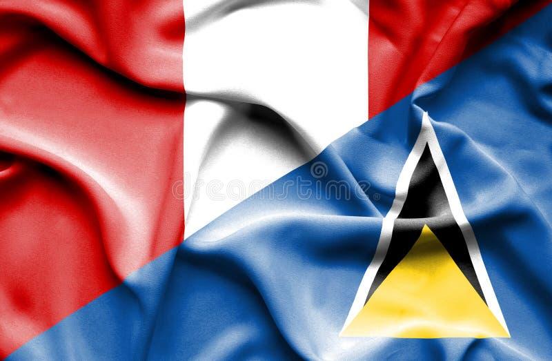 Wellenartig bewegende Flagge von St Lucia und von Peru stock abbildung