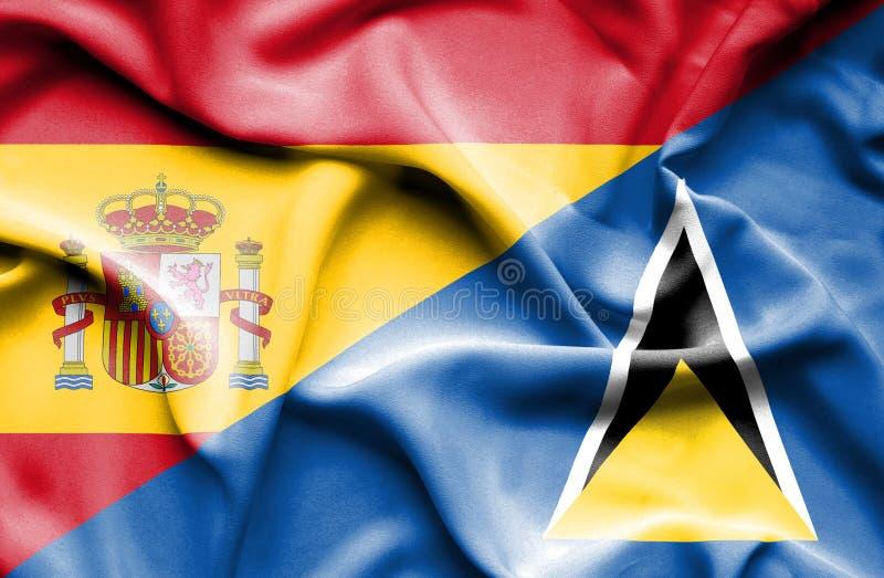 Wellenartig bewegende Flagge von St Lucia und von Spanien lizenzfreie abbildung