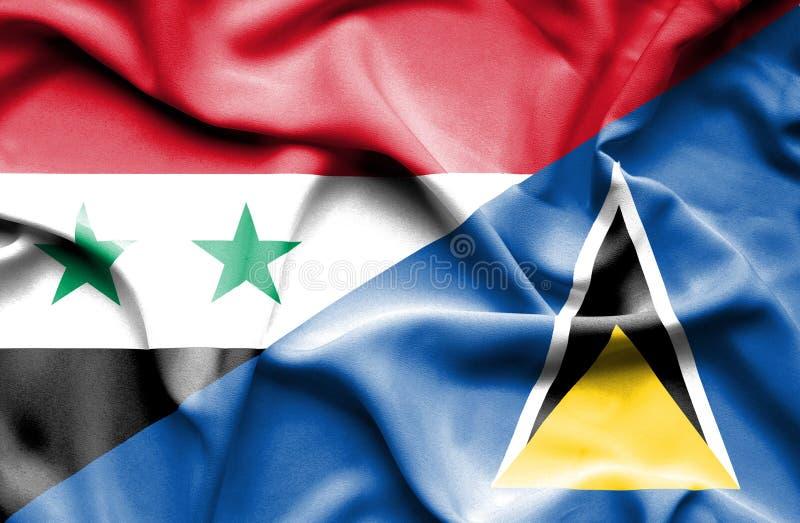 Wellenartig bewegende Flagge von St Lucia und von Syrien stock abbildung