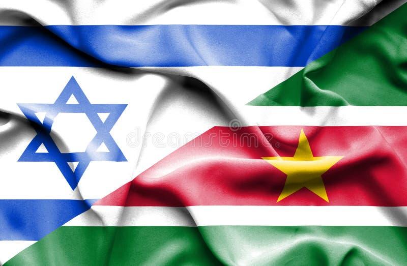 Wellenartig bewegende Flagge von Surinam und von Israel vektor abbildung