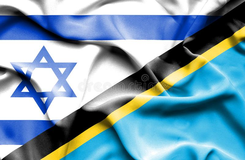 Wellenartig bewegende Flagge von Tansania und von Israel vektor abbildung