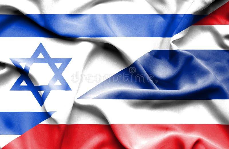 Wellenartig bewegende Flagge von Thailand und von Israel vektor abbildung