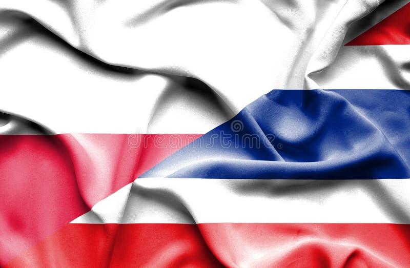 Wellenartig bewegende Flagge von Thailand und von Polen vektor abbildung