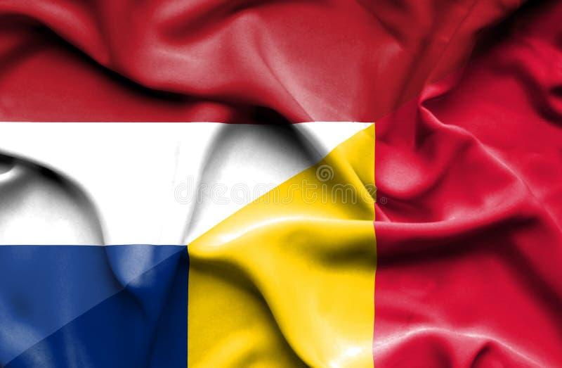 Wellenartig bewegende Flagge von Tschad und vektor abbildung