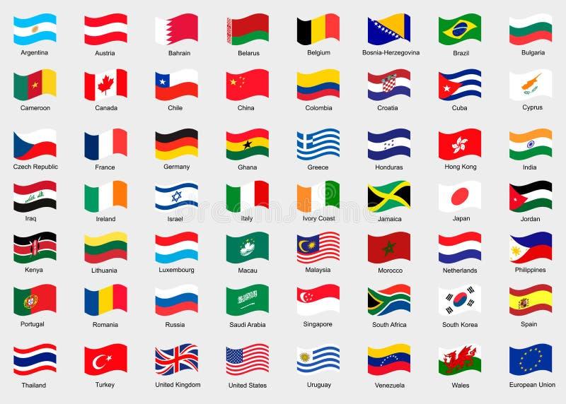 Wellenartig bewegende Flaggen der Welt lizenzfreie abbildung