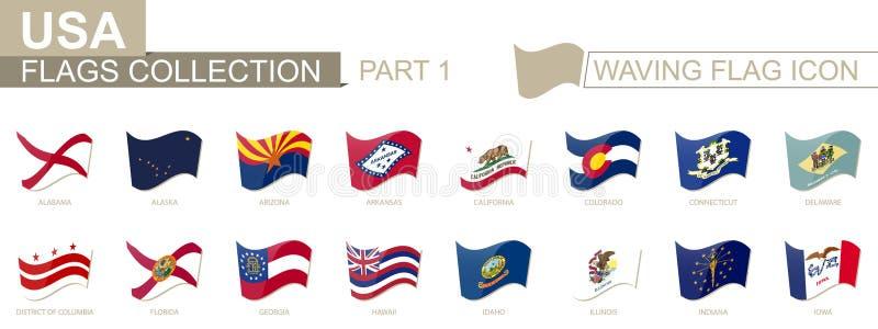 Wellenartig bewegende Flaggenikone, Flaggen der US-Staaten alphabetisch sortiert, von Alabama nach Iowa vektor abbildung