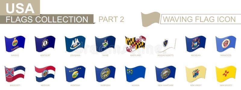 Wellenartig bewegende Flaggenikone, Flaggen der US-Staaten alphabetisch sortiert, von Kansas zum New Mexiko vektor abbildung