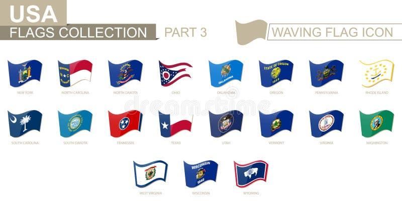 Wellenartig bewegende Flaggenikone, Flaggen der US-Staaten alphabetisch sortiert, von Staat New-York nach Wyoming vektor abbildung