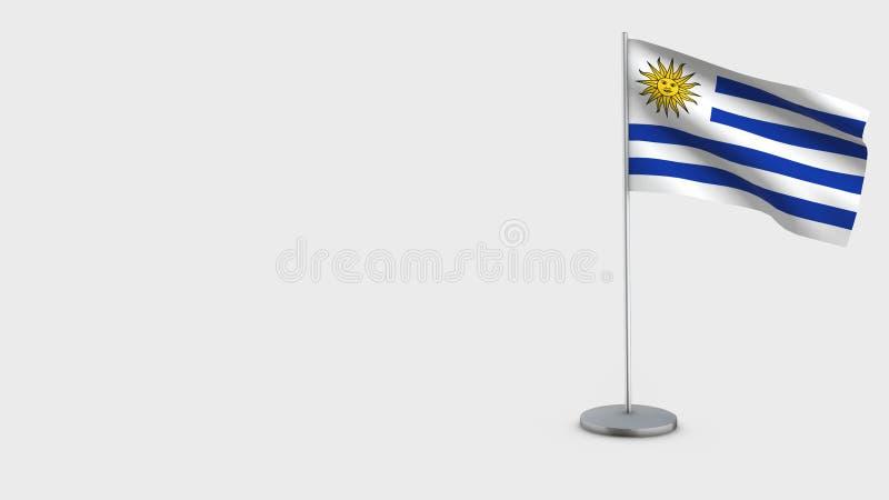 Wellenartig bewegende Flaggenillustration Uruguays 3D lizenzfreie abbildung