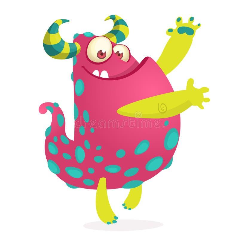Wellenartig bewegende Hände des lustigen Monsters Halloween-Charakter stock abbildung