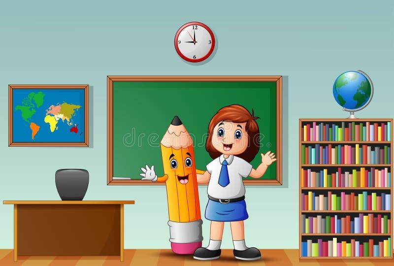 Wellenartig bewegende Hand des kleinen Mädchens mit dem Halten des gelben Bleistifts im Klassenzimmer stock abbildung