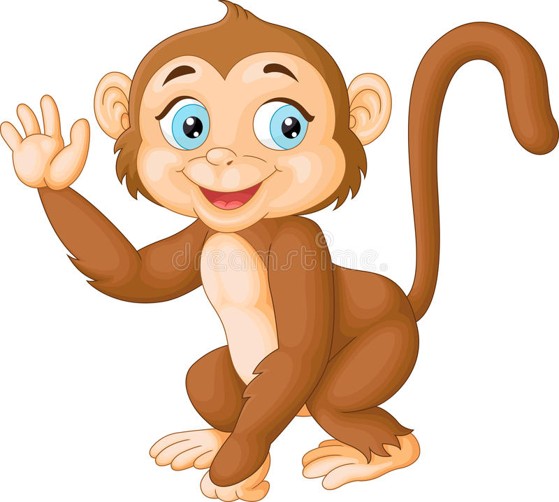Wellenartig bewegende Hand des lustigen Affen der Karikatur lizenzfreie abbildung