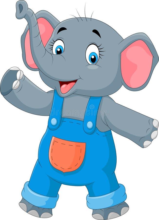 Wellenartig bewegende Hand des netten Elefanten der Karikatur lizenzfreie abbildung