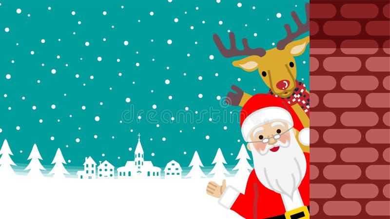 Wellenartig bewegende hand- Santa Claus- und Renstellung hinter dem Ziegelstein stock abbildung