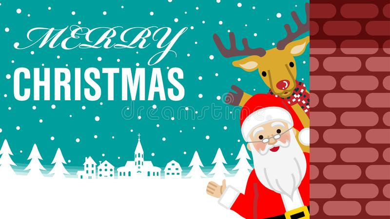 Wellenartig bewegende hand- Santa Claus- und Renstellung hinter dem Ziegelstein lizenzfreie abbildung
