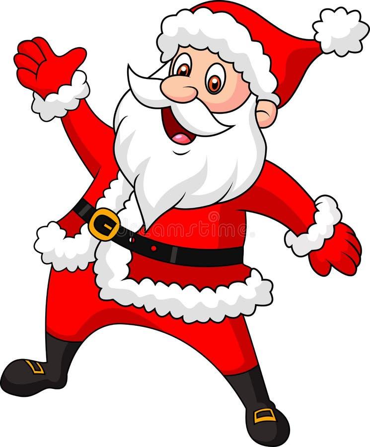 Wellenartig bewegende Hand Weihnachtsmann-Karikatur stock abbildung