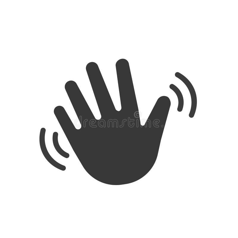 Wellenartig bewegende Handwelle hallo oder hallo Übersetzt Ikone lizenzfreie abbildung