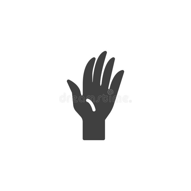 Wellenartig bewegende Handzeichenvektorikone stock abbildung
