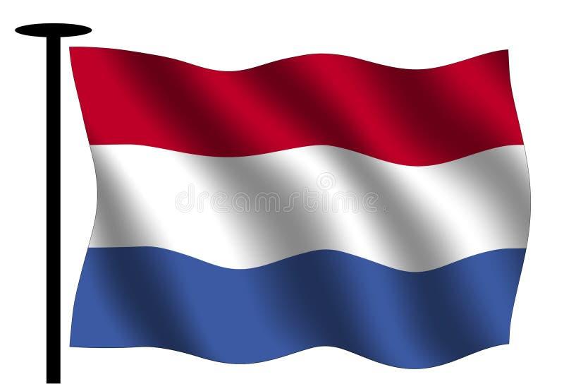 Wellenartig bewegende holländische Markierungsfahne lizenzfreie abbildung