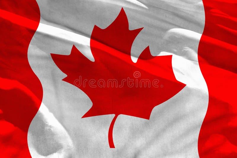 Wellenartig bewegende Kanada-Flagge für die Anwendung als Beschaffenheit oder Hintergrund, die Flagge flattert auf dem Wind stockbilder