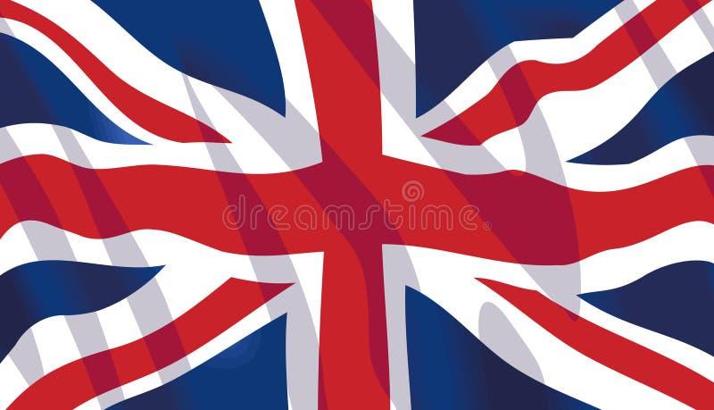 Wellenartig bewegende Markierungsfahne von Vereinigtem Königreich stock abbildung