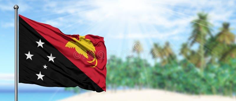 Wellenartig bewegende Papua-Neu-Guinea Flagge im sonnigen blauen Himmel mit Sommerstrandhintergrund Machen Thema, Feiertagskonzep stockfotografie