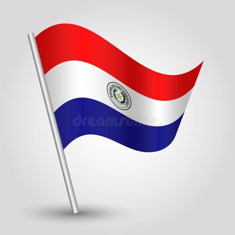 Wellenartig bewegende paraguayische Flagge des Dreiecks des Vektors auf schräg gelegenem silbernem Pfosten - Symbol von Paraguay  stock abbildung