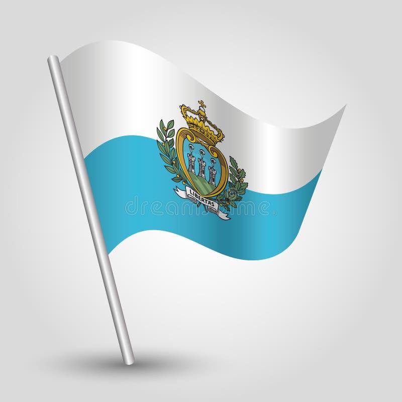 Wellenartig bewegende sanmarinese Flagge des Dreiecks des Vektors auf schräg gelegenem silbernem Pfosten - Symbol von San Marino  lizenzfreie abbildung
